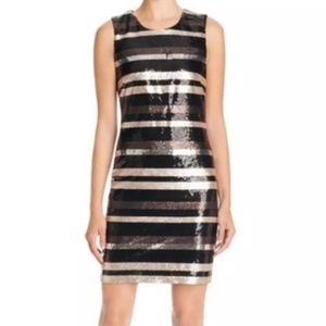 NWT  Metallic Sequins Stripe BodyCon Formal Dress